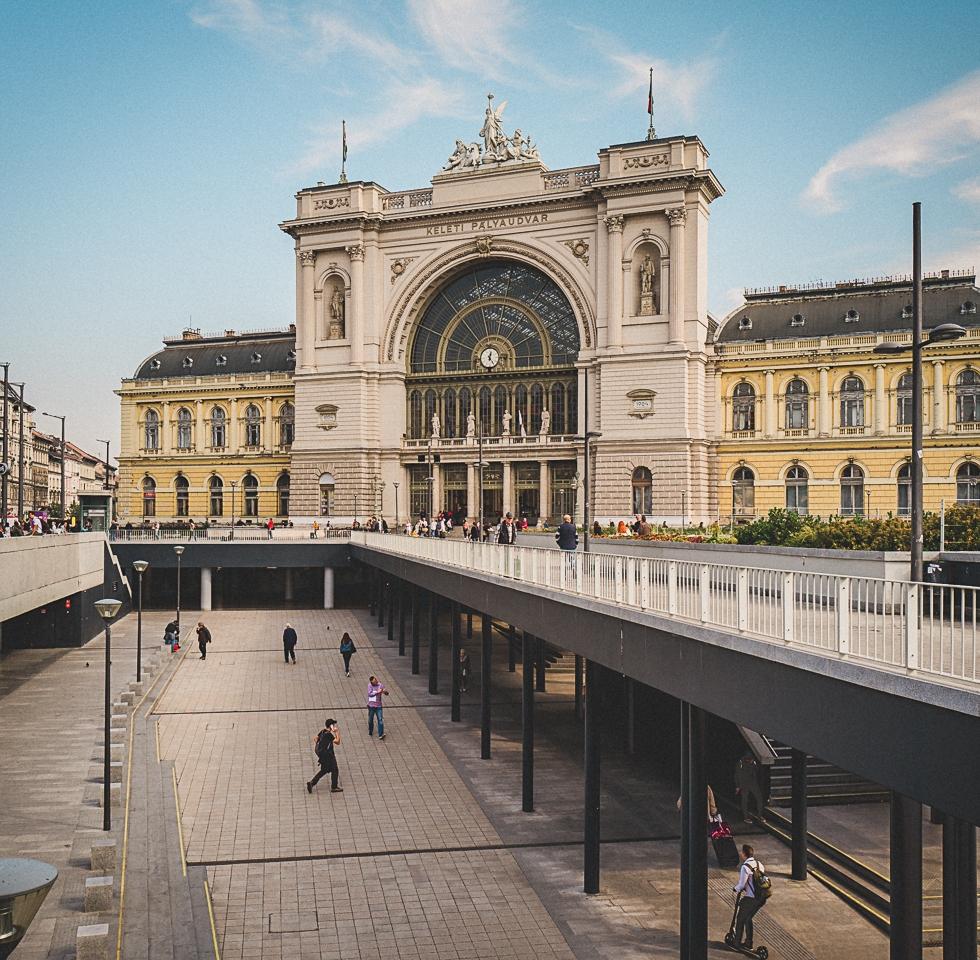 Keleti Pályaudvar, the main train station in Budapest Hungary