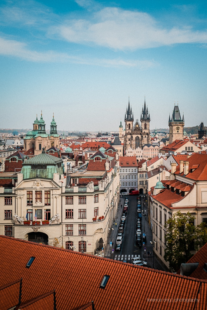 The view at the top of the Astronomical Clock in Prague
