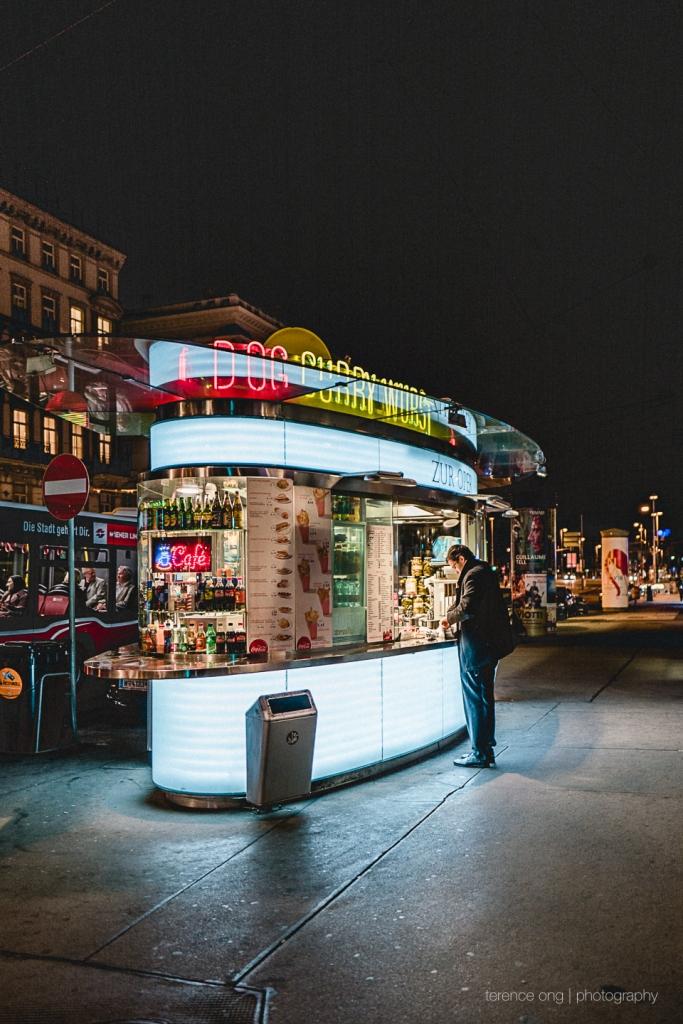 A Hotdog Stand along the Opera House in Vienna, Austria