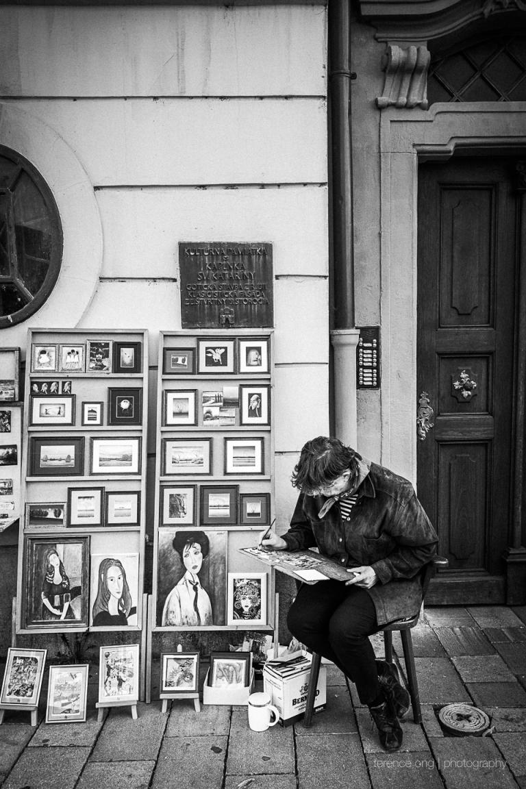 Street artist at work in Bratislava, Slovakia