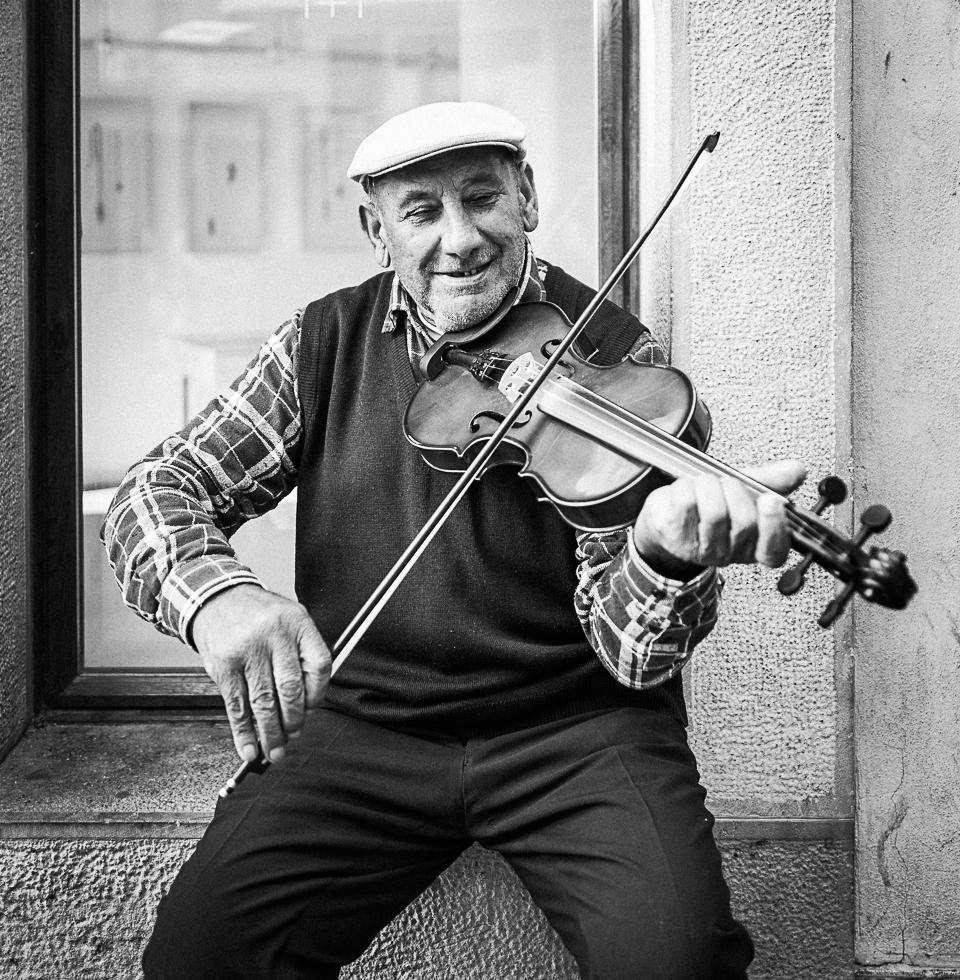 Street musician in Bratislava, Slovakia
